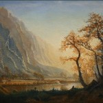 Carol Guidi after Alfred Bierstadt Sunrise Yosemite Valley Oil on panel 32x20