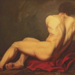 Carol Guidi after Jacques-Louis David Nude Study Oil on panel 35x25