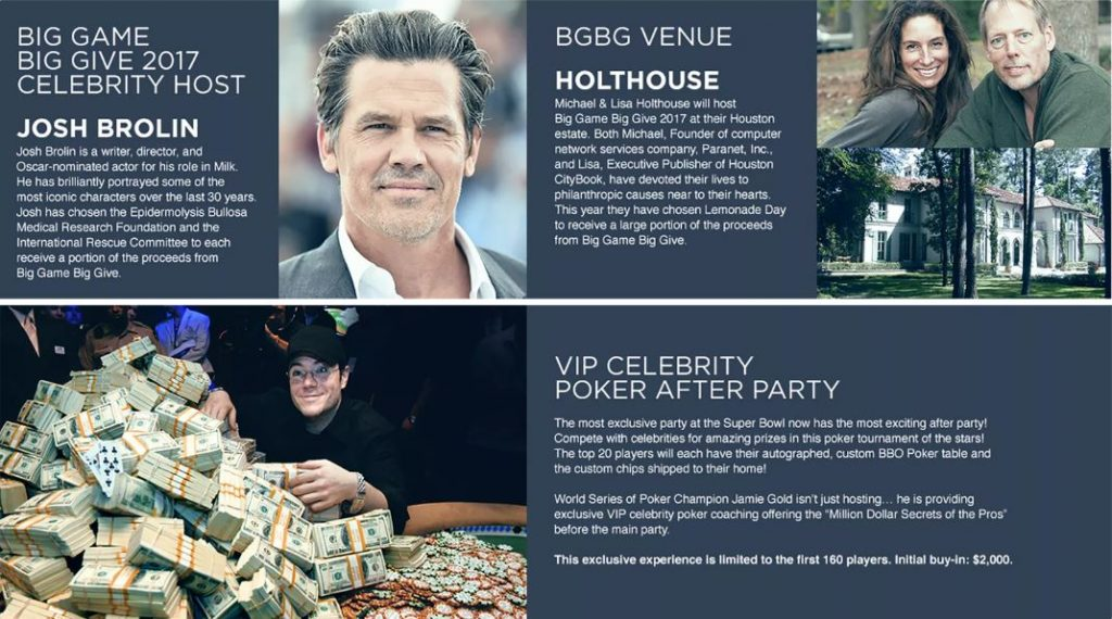 Josh Brolin hosts Big Game Big Give Charity Event 2017