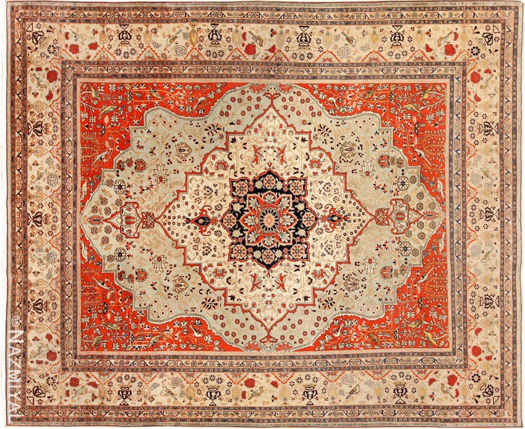 Antique Light Blue Mohtasham Kashan Persian Rug