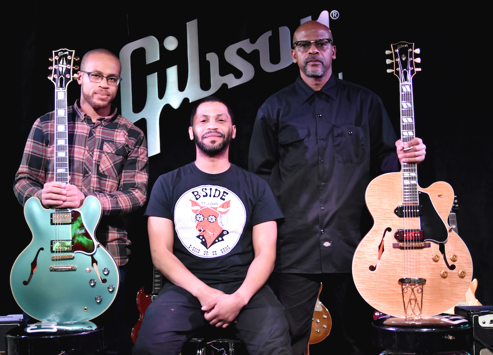 L-R: Charlie Berry III and Jahi Eskridge (Chuck Berry's grandsons) and Charles Berry Jr. (Chuck Berry's son) holding the new Gibson Chuck Berry 1955 ES-350T (far right), Gibson ES 355 (far left) is also pictured. Credit: Chris M. Junior Photography.
