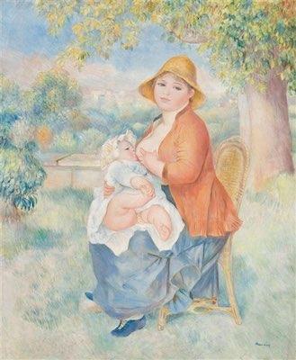 "The intimate portrait of Renoir's wife breastfeeding their son in ""Jeune femme allaitant son enfant-Madame Renoir et son fils Pierre"""