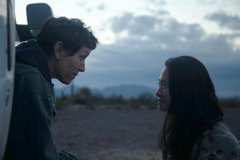 "Frances McDormand and Chloé Zhao on the set of ""Nomadland"""